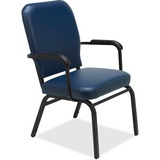 Lorell Fixed Arms Vinyl Oversized Stack Chairs - Vinyl Navy Seat - Vinyl Navy Back - Steel Frame - F LLR59599
