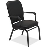 Lorell Fixed Arms Vinyl Oversized Stack Chairs - Vinyl Black Seat - Vinyl Black Back - Steel Frame - LLR59600