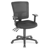 "Lorell Low-Back Mesh Chair - Fabric Black Seat - Nylon Black Back - 5-star Base - Black - 19.30"" Sea LLR85565"