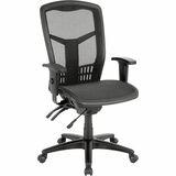 Lorell Executive Mesh High-Back Chair - Mesh Black Seat - Steel Black, Plastic Frame - 5-star Base - LLR86905