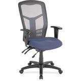 Lorell Ergomesh Seating Exec Mesh High-Back Chair - Fabric Seat - Steel Black, Plastic Frame - 5-sta LLR86906