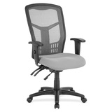 Lorell Ergomesh Seating Exec Mesh High-Back Chair - Fabric Seat - Steel Black, Plastic Frame - 5-sta LLR86907
