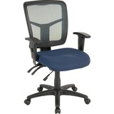 "Lorell Swivel Mid-Back Chair - Fabric Seat - Black Frame - 5-star Base - Black, Blue - 25.3"" Width x LLR86908"