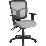 "Lorell Swivel Mid-Back Chair - Fabric Gray Seat - Black Frame - 5-star Base - 25.3"" Width x 23.5"" De LLR86909"
