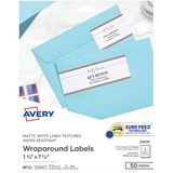 Avery® Rectangle Wraparound Labels, 7 17/20 x 1 3/4, Textured White, 50/Pack AVE22838