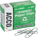 ACCO® Recycled Paper Clips - Jumbo - 20 Sheet Capacity - Reusable, Durable - 1000 / Pack - Silve ACC72525PK