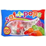 Saf-T-Pops Wrapped Lollipops - Cherry, Grape, Apple, Orange - Individually Wrapped - 4.50 lb - 200 / MJK182