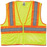 GloWear Class 2 Two-tone Lime Vest - Small/Medium Size - Polyester Mesh - Lime - 1 / Each EGO21293
