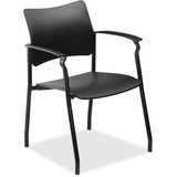 """Lorell Stack Chair with Arms - Plastic Black Seat - Plastic Black Back - 5-star Base - 23"""" Width x 2 LLR25982"""