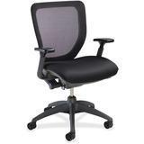 Lorell Mesh-back Task Chair with Synchro Knee Tilt - Fabric Black Seat - Black Back - 5-star Base -  LLR25983