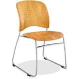 Safco Reve Plastic Wood Back Guest Chair - Plastic Natural Seat - Plastic Natural Back - Sled Base - SAF6810NA