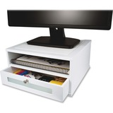 "Victor Monitor Riser - 6.5"" Height x 13"" Width x 13"" Depth - Desktop - Wood, Faux Leather, Frosted G VCTW1175"