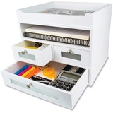 "Victor Pure White Collection Wood Tidy Tower Organizer - 3 Drawer(s) - 10.8"" Height x 12.3"" Width x  VCTW5500"