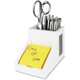 """Victor Pure White Collection Wood Pencil Cup with Note Holder - 4.5"""" x 4"""" x 6.3"""" - Wood, Rubber, Fro VCTW9505"""