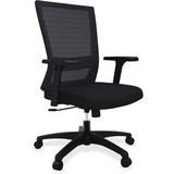 "Lorell Mesh Mid-back Swivel Chair - Fabric Seat - 5-star Base - Black - 28"" Width x 26.1"" Depth x 40 LLR54851"