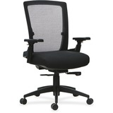 "Lorell 3D Rotation Armrests Mid-back Chair - Fabric Seat - 5-star Base - Black - 20.88"" Seat Width x LLR59520"