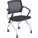 Lorell Mesh Back Training Chair - Plywood, Foam, Fabric Seat - Mesh Fabric Back - Plastic, Metal Fra LLR59540