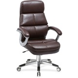 Lorell Brown Bonded Leather High-back Chair - Bonded Leather Seat - Bonded Leather Back - 5-star Bas LLR59562