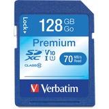 Verbatim 128GB Premium SDXC Memory Card, UHS-I Class 10 - TAA Compliant - Class 10/UHS-I (U1) - 45 M VER44025