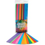 """Hygloss Non-gummed Bright Chain Strips - 180 Piece(s) - 1"""" x 8"""" - 1 Pack - Bright Assorted HYX17011"""