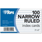 "TOPS Narrow Ruled 3x5 Index Cards - Front Ruling Surface - Ruled - 90 lb Basis Weight - 3"" x 5"" - Wh TOP62501"
