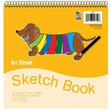 "Pacon Beginner's Sketch Book - 40 Sheets - Spiral - 9"" x 9"" - White Paper - 40 / Pad PAC4750"