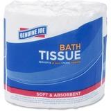 Genuine Joe 1-ply Bath Tissue - 1 Ply - White - Fiber - For Bathroom - 1000 Sheets Per Carton - 96 / GJO4100096
