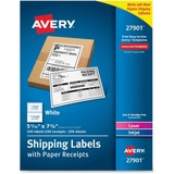 """Avery Paper Receipt White Shipping Labels - Permanent Adhesive - 250 Label(s)"""" - 5.06"""" Width x 7.62"""" AVE27901"""