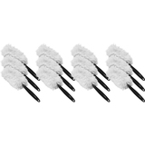 "Genuine Joe Microfiber Handheld Duster - 10"" Length Handle - 12 / Carton - MicroFiber - White, Green GJO90112CT"