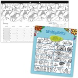 Blueline Multiplicity Design Monthly Coloring Desk Pad Calendar - Julian - Monthly - January 2017 ti REDC2917002