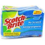 """Scotch-Brite No Scratch Scrub Sponges - 2.8"""" Height4.5"""" Depth - 24/Carton - Blue MMMMP3CT"""