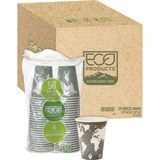 Eco-Products Renewable Resource Hot Drink Cups - 12 oz - 500 / Carton - Blue Marble - Polylactic Aci ECOEPBHC12WACT