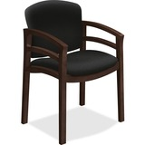 HON 2112 Mahogany Base Double Rail Guest Chair - Polymer Seat - Hardwood Frame - Four-legged Base -  HON2112MOCHCU10