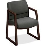 HON 2400 Srs Mocha Hardwood Sled Base Guest Chair - Wood Gray, Plywood, Urethane Foam Seat - Urethan HON2403MOCHAB12