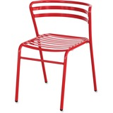 Safco Multipurpose Stacking Metal Chairs - Slate Seat - Slate Back - Tubular Steel Red Frame - Four- SAF4360RD