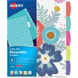 """Avery Big Tab Reversible Fashion Dividers 24950, 5 Tabs, 1 Set, Assorted Designs - 8.50"""" Width x 11"""" AVE24950"""