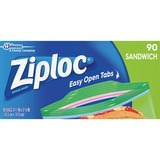 "Ziploc Sandwich Bags - 5.88"" Width x 6.50"" Length x 1.20 mil (30 Micron) Thickness - Clear - 90/Box  DVOCB711473"