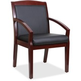 Lorell Guest Chair - Bonded Leather Black Seat - Bonded Leather Black Back - Solid Wood, Rubberwood  LLR20020