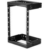 "StarTech.com 15U 19"" Wall Mount Network Rack - Adjustable Depth 12-20"" Open Frame for Server Room /AV/Data/Computer Equipment w/Cage Nuts"
