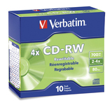 CD-RW Discs, 700MB/80min, 2x-4x, Slim Jewel Cases, Matte Silver, 10/Pack  MPN:95170