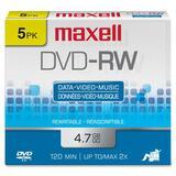 Maxell DVD Rewritable Media - DVD-RW - 2x - 4.70 GB - 5 Pack Jewel Case