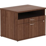 LLR16231 - Lorell Walnut Open Shelf File Cabinet Cred...