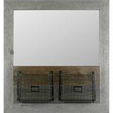 LLR04494 - Lorell Metal Bracket Basket Pine Wood Mirror