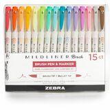 ZEB79115 - Zebra Pen Mildliner Brush Pen & Marker Set
