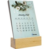 REDC6422 - Blueline Wood Base Desk Calendar