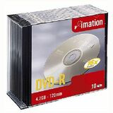 DVD-R Discs, 4.7GB, 16x, Slim Jewel Cases, Silver, 10/Pack  MPN:17619