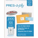 PRES-a-ply™ Laser Address Labels, 1 x 4, White, 2000/Box AVE30601