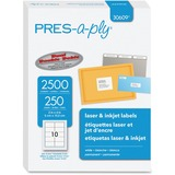 PRES-a-ply™ Laser Shipping Labels, 2 x 4, White, 2500/Box AVE30609