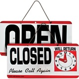 Advantus Open/Closed Sign With Clock - 1 Each - Open/Closed, Please Call Again, Will Return Print/Me AVT83636