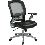 Office Star Space 3000 Professional Air Grid Back Managerial Mid-Back Chair - Leather Black Seat - 5 OSP3680